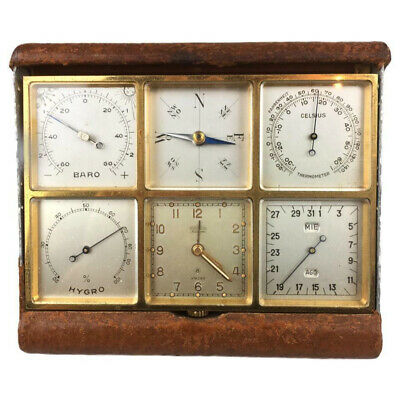 Vintage Angelus Sixsome 8-Day Travel / Desk Alarm Clock / Watch Weather Station