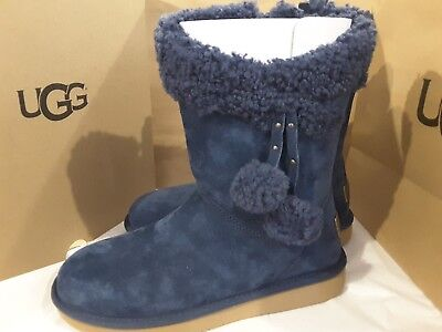 aa3c9a34b4a NEW IN BOX UGG Plumdale Cuff Glam Short Navy Blue SHEEPSKIN BOOTS ...