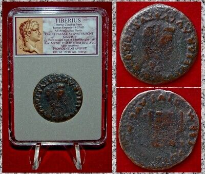 Ancient Roman Empire Coin Of TIBERIUS Emperor on Obverse Altar On Reverse