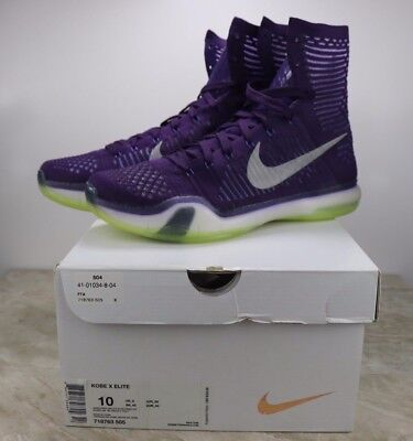 quality design eee17 3caec Nike Kobe X 10 Elite Grand Purple Reflect Silver Volt Mens Size 10 718763- 505