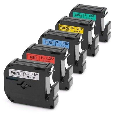 5PK M-K221 M621 Label Tape M Series Compatible with Brother P-touch PT-90 3/8''