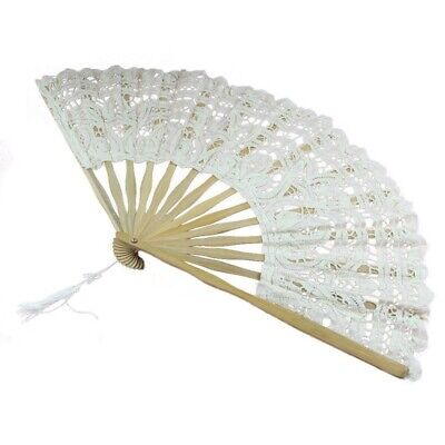 Handmade Cotton Lace Folding Hand Fan for Party Bridal Wedding Decoration X2N1