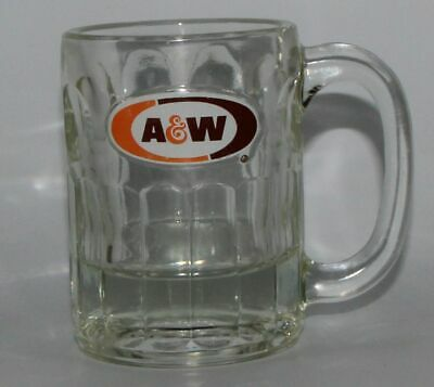 "Vintage A/&W Root Beer Mugs 5-3//4/"" High Orange /& Brown Oval Logo"