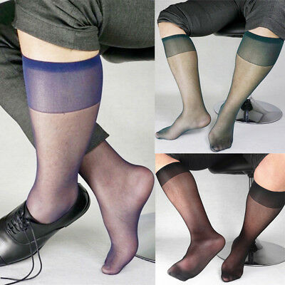 611cdd055 Men Nylon Traceless Middle Tube Silk Socks Sheer Mesh Breathable Stockings  New
