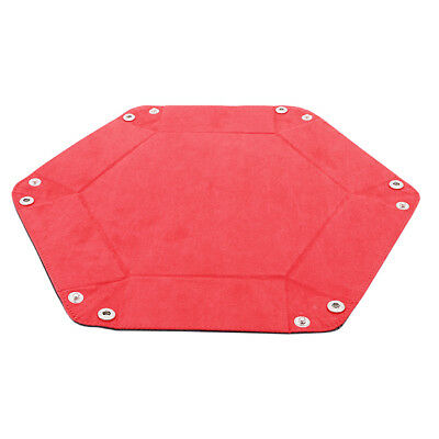 Dice PU Leather Folding Hexagon Tray Red Velvet Table Game Accessory B