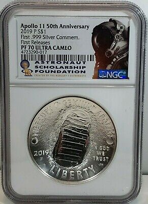 2019 P Apollo 11 50Th Anniversary Ngc Pf70 Proof 1 Oz Silver $1 First Release Fr