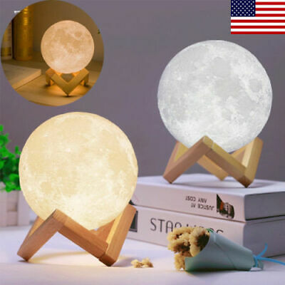 3D USB LED Magical Moon Night Light Dimmable Touch Control Table Desk Lunar Lamp