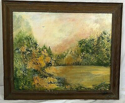 Oil on Canvas Framed Impressionistic Painting Lake Woods  Signed Donneberger
