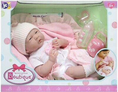 Berenguer Boutique La Newborn Layette Gift Set Baby Girl Doll With Pink Blanket
