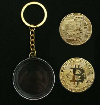 BTC Physical Chain Silver Gold Key Metal Bitcoin Ring Keychain Keyring