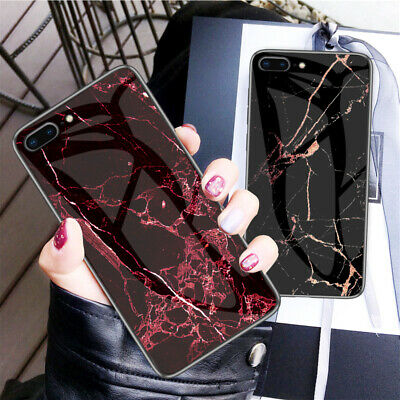 For iPhone 6S 7 8 Plus Luxury Marble Tempered Glass Hybrid Slim Hard Case Cover