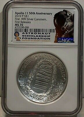 2019 P Apollo 11 50Th Anniversary Ngc Ms70 Unc 1 Oz Silver $1 First Release Fr