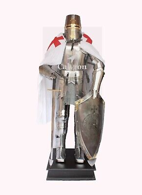 Steel Metal Full Body Suit Knight Combat Armour & Shield Sword Complete Stand