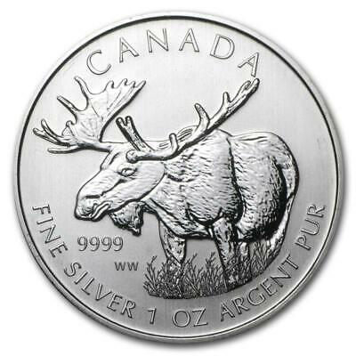 2012 1 oz Canada Silver Moose Wildlife Series Coin (BU) with Light Spotting
