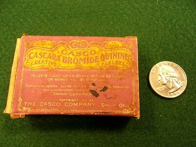 Rare Vtg Antique 1919 Medicine Box (Empty) - Casco Cascara Bromide Quinine Tabs