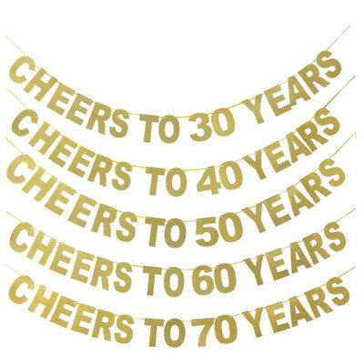 Cheers to 30 40 50 Years Glitter Letters Banner Bunting Garlands Party B