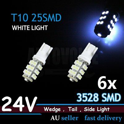 6x 24V T10 W5W LED 25SMD Bright WHITE Car Interior Tail Parking Stop Light Bulbs
