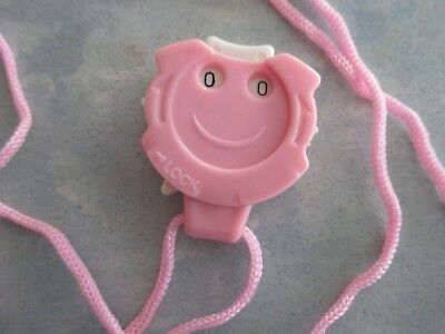 PENDANT Row Counter with Face on Pink Cord