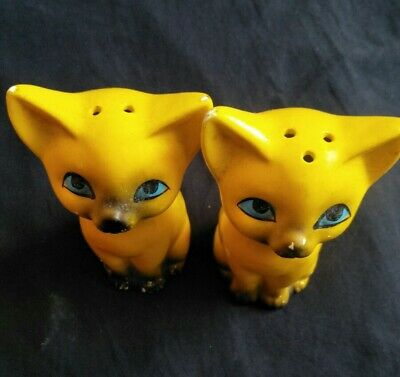 Vintage Cat Salt And Pepper Shakers, Made in JAPAN, yellow