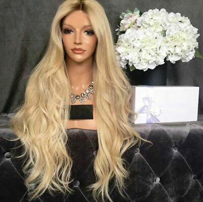 AU STOCK Women Long LIGHT Blonde Ombre Curly Wigs Natural Full Wavy Hair Wig