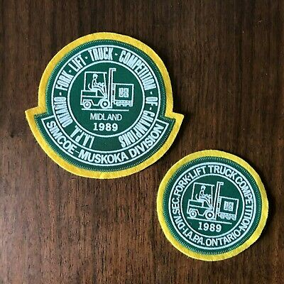 Vintage Patch Lot of 2 Patches 1989 Ontario Fork Lift Truck Competition