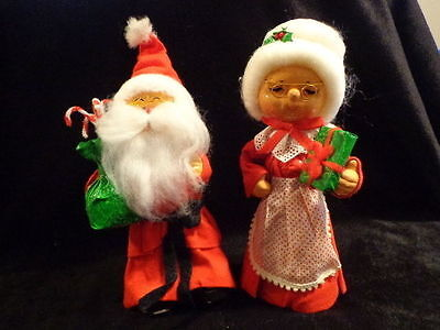 "Vintage Santa Claus & Mrs Figure Couple Paper Mache Cardboard Felt 11"" Harzfelds"