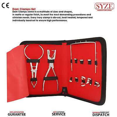 Dental Rubber Dam Clamps Pliers and Ainsworth Hole Punch Forceps Kit SYZE