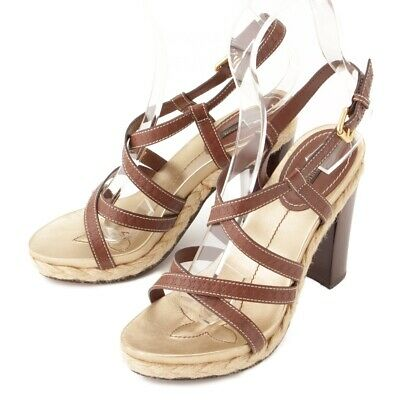 da756e515ac6 Authentic Louis Vuitton Leather Strap Heel Sandals Brown Grade B Used -At
