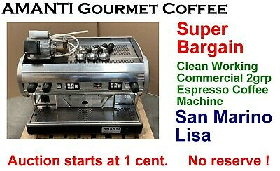 Clean Working San Marino Lisa 2grp Commercial Espresso Coffee Machine + AMANTI