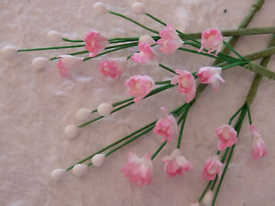 20 stems PINK Mulberry Paper Miniature FLOWERS Wedding Party Card Scrapbook