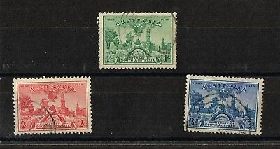 Australian 1936 CENT OF SOUTH AUST -SET OF 3  PRE DECIMAL- FINE USED  STAMPS