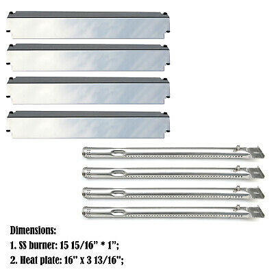 Replacement Charbroil 463247310,463257010 Gas Grill Burner&SS Heat Shield- 4pack