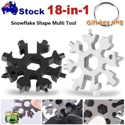 18 in 1 Stainless Multi-tool Snowflake Keychain Wrench Screwdriver Bottle Opener