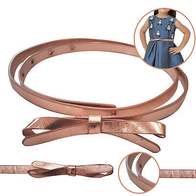 10mm Waist Belt With Butterfly Bowknot Buckle Skinny Faux Leather Kids Outfit