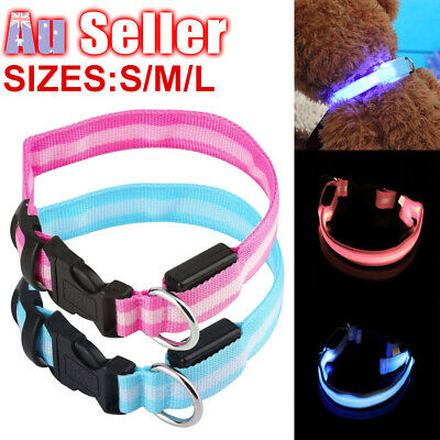 LED Pet Tag Leash Battery Collar Flashing 3 Sizes Dog Glow Light Puppy Included