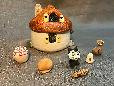Babbacombe Pottery Woodland Fairy Tale Cottage Cat and Figures