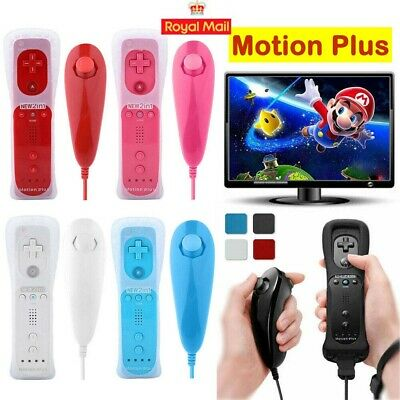 Built in Motion Plus Remote + Nunchuck Controller For Nintendo Wii Case Cover