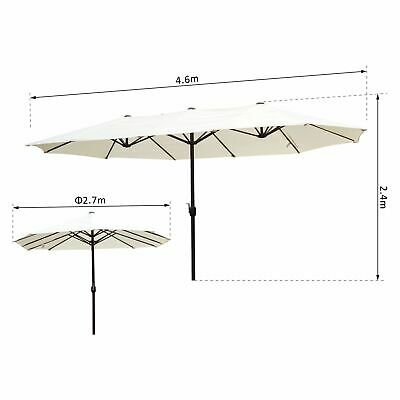 New 4.6M Double-Sided Patio Umbrella Garden Parasol Market Canopy Crank