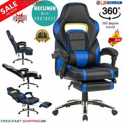 LANGRIA Gaming Racing Chair Office Executive Recliner Adjustable Faux Leather UK