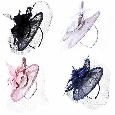 Large Feather and Looped Ribbon Net Veil Sinamay Fascinator Hat Wedding Races