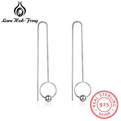 925 Silver Ball Drop Long Chain Tassel Earrings Xmas Gifts For Her Mother Women