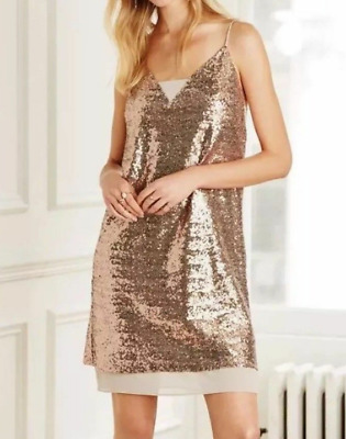 2a0fe196 NEW Next Cami Dress Rose Gold Sequin Womens Girls Ladies Size 14 RRP £50