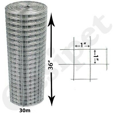 "Welded Wire Mesh 1""x1"" Aviary Fencing Fence Chicken Rabbit Garden Galvanised 30m"