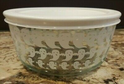 171bfb8671 Pyrex 4 Cup White GHOST Glass Bowl Limited Edition Halloween Bowl & LID: NEW