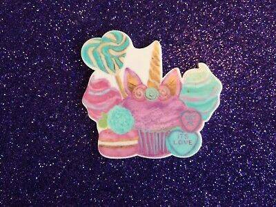 5pc. Unicorn Candy Cupcake, Resin Planar Flat back, cabochon,bow center, slime