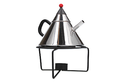 A post modern Japanese teapot & stand Stainless steel Red & black