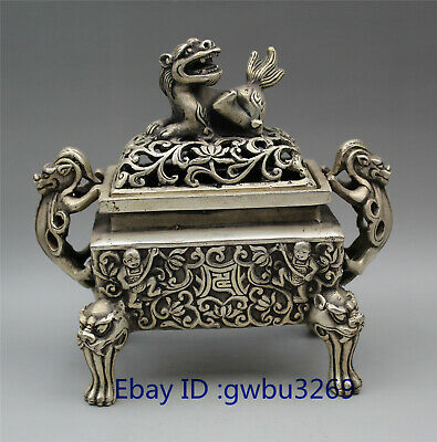 collection Tibetan silver handwork carved lion statue Incense burner w Xuande Ma
