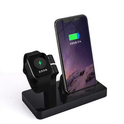 US 2in1 Charger Dock Stand Bracket For Apple iWatch 1/2/3/4 iPhone 8 X XR XS Max