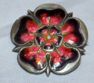 Antique Art Nouveau Sterling Silver Rose Enamel Brooch QUEENSWAY / Liberty & Co