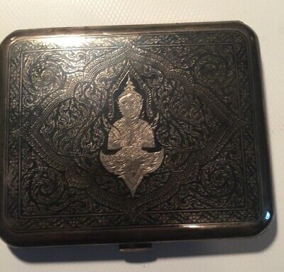 Vintage Sterling Silver Cigarette Case From Siam
